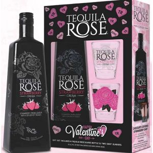 TEQUILA ROSE CREAM STRAWBERRY  GFT PK W/ 2 GLASSES 750ML