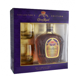 CROWN ROYAL WHISKEY GFT PK W/ 2 GLASSES CANADIAN 750ML